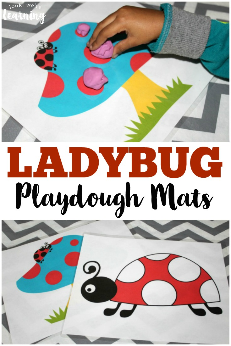 These printable ladybug playdough mats are so fun for preschool motor skill practice!