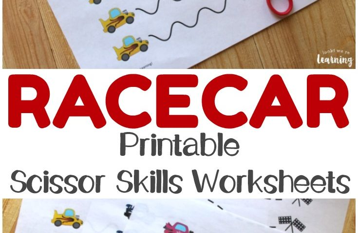 Revving Racecar Scissor Skills Printables for Kids