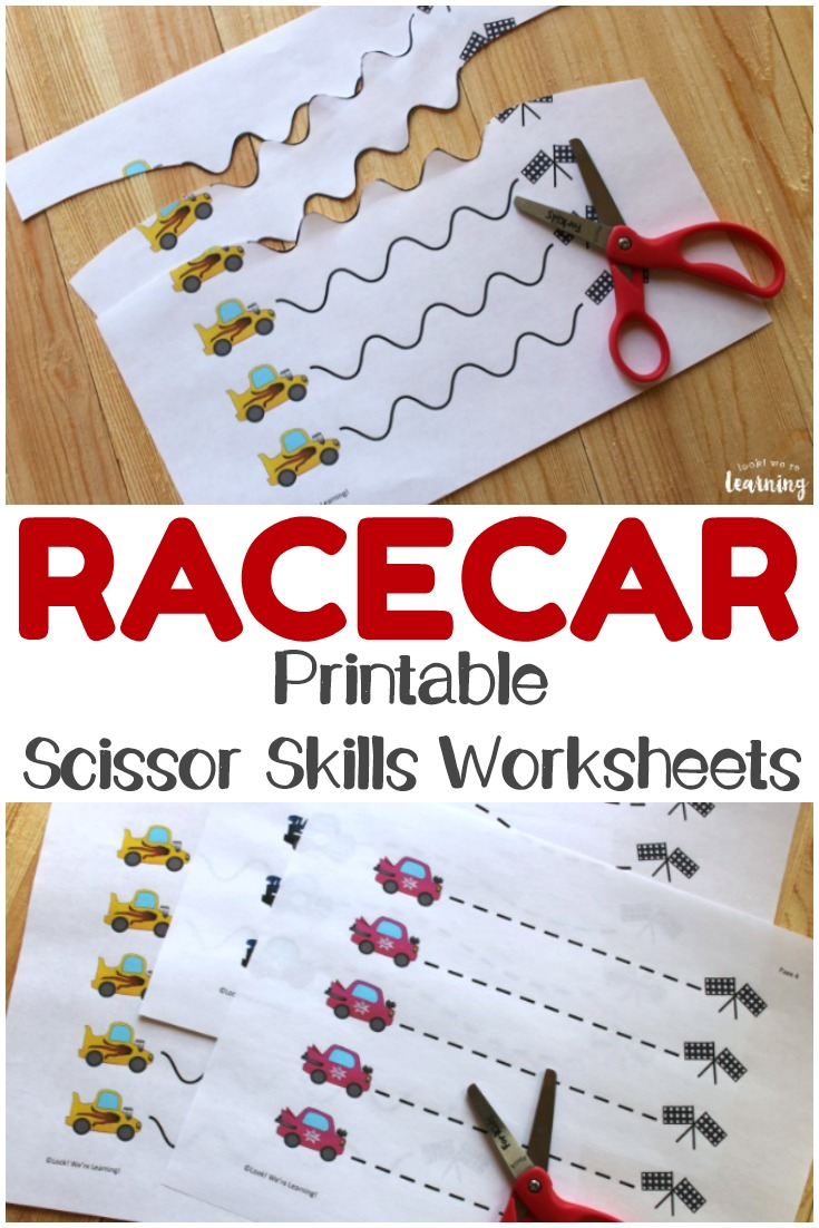 These printable racecar scissor skills worksheets are perfect fine motor practice for little racing fans!