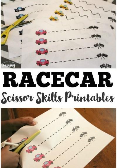 Free Revving Racecar Scissor Skills Printables