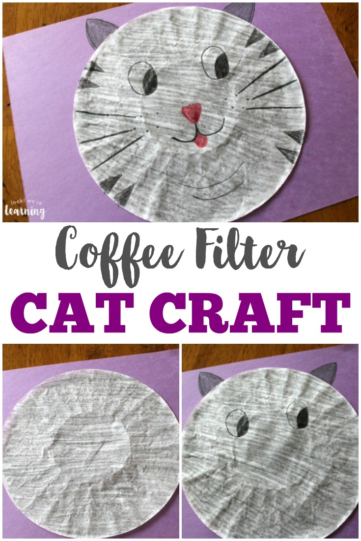 This adorable coffee filter cat craft is a perfect activity to share with kids!