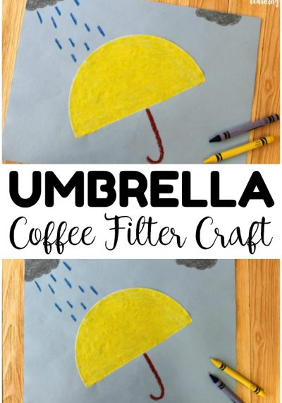 This quick and easy umbrella coffee filter craft is a perfect spring activity for little ones!