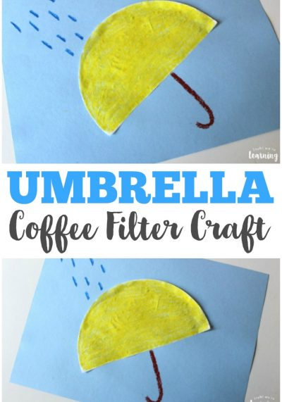 This simple coffee filter umbrella craft is a perfect springtime craft for kids!