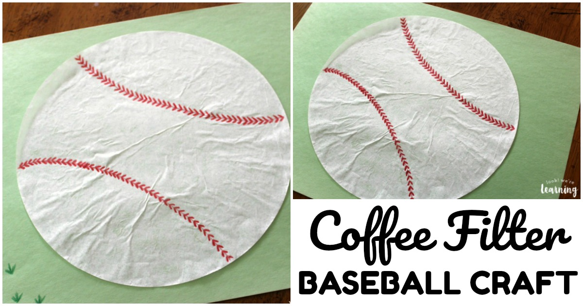 Simple Coffee Filter Baseball Craft for Kids