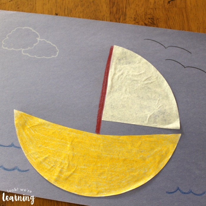 Simple Coffee Filter Sailboat Craft for Kids