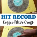 Take a trip back in time with this neat vinyl record coffee filter craft for kids!