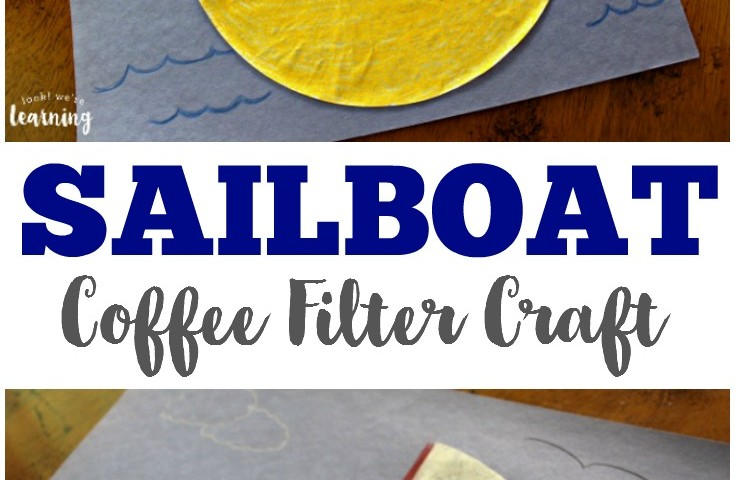 Coffee Filter Crafts for Kids: Coffee Filter Sailboat Craft