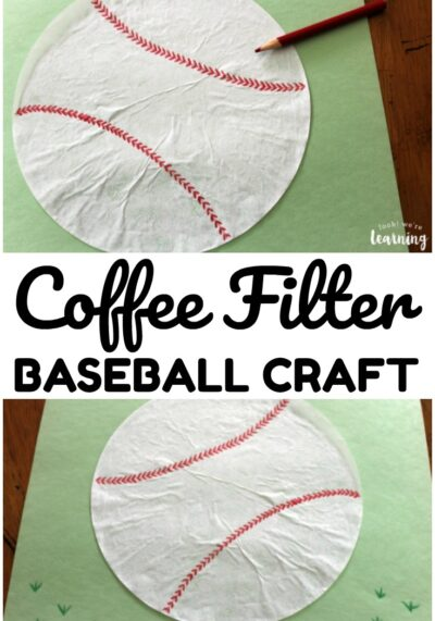 This easy coffee filter baseball craft is so fun to share with kids over the summer!