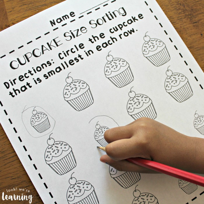 Cupcake Big and Small Worksheets for Preschool