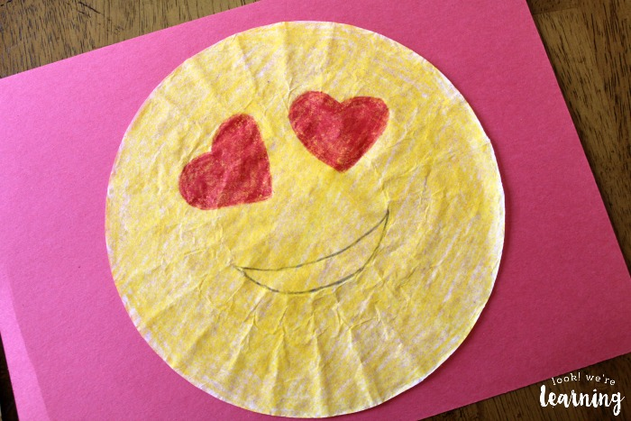 Easy Coffee Filter Emoji Craft for Kids