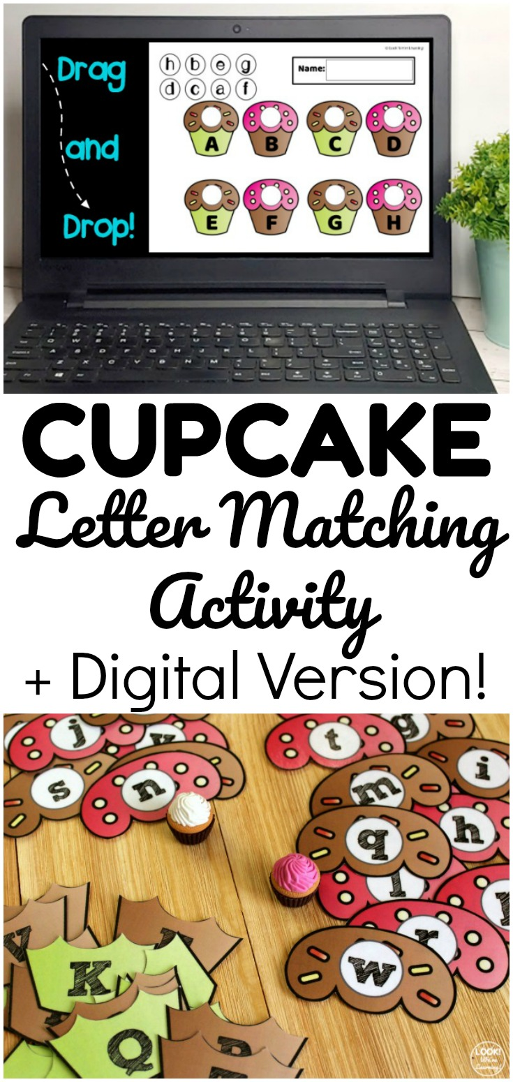 Get a printable cupcake letter matching activity for little ones and a digital version you can use online! Great for early ages who are distance learning!