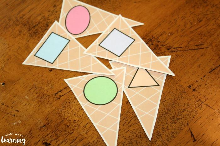 Ice Cream Shape Sorting for Preschool