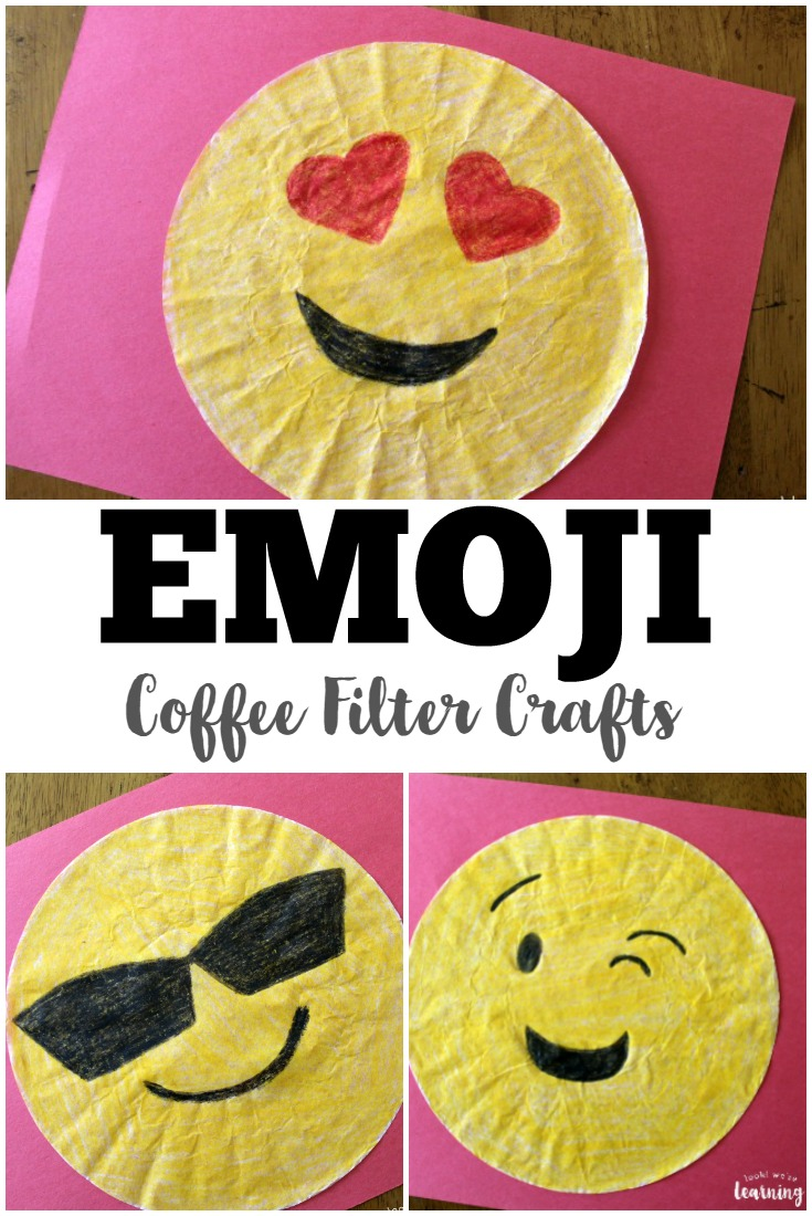 Kids will love making these easy coffee filter emoji crafts!