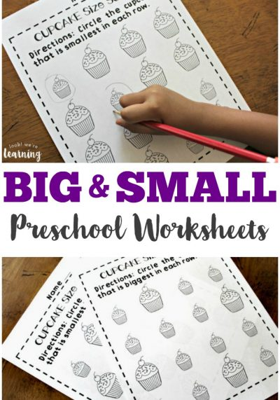 Pick up these cute cupcake big and small worksheets for preschool to make learning about size differentiation fun!