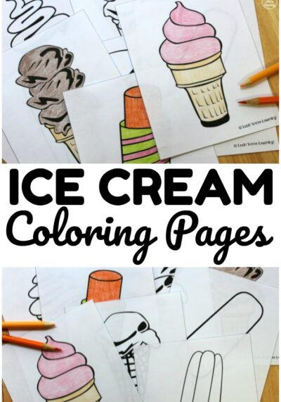 Pick up these printable ice cream coloring pages to share a simple summer art activity with kids!