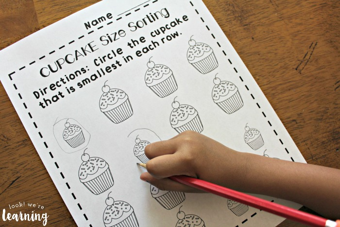 Printable Cupcake Big and Small Worksheets for Preschool