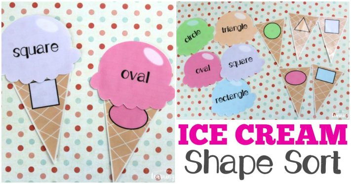 Printable Ice Cream Themed Shape Sort