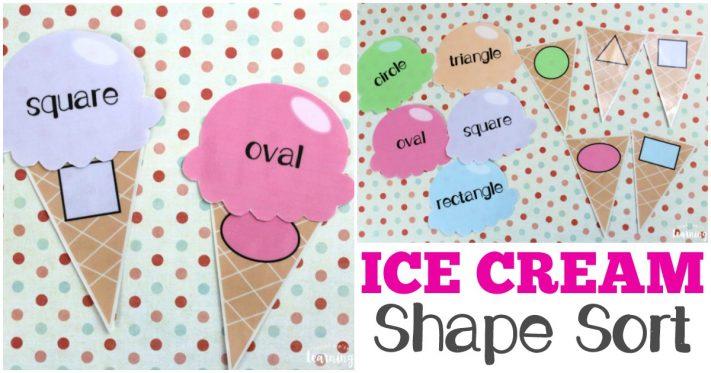 Printable Ice Cream Themed Shape Sort