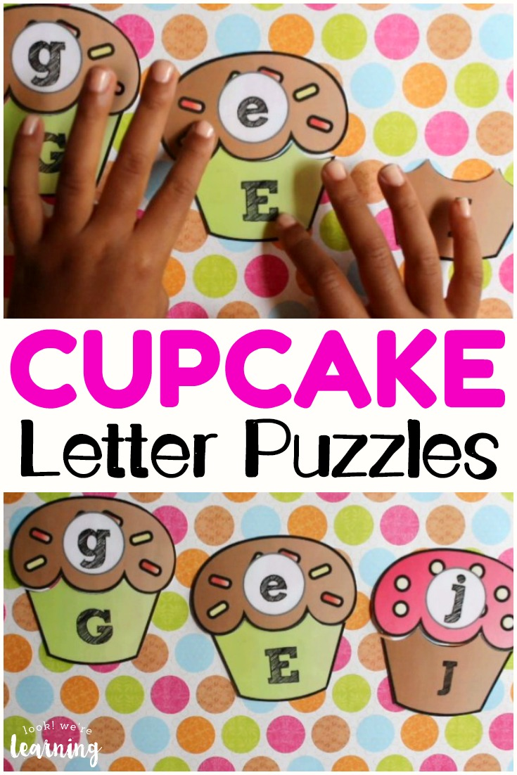 These cupcake letter puzzles are such a cute way to practice recognizing uppercase and lowercase letters!