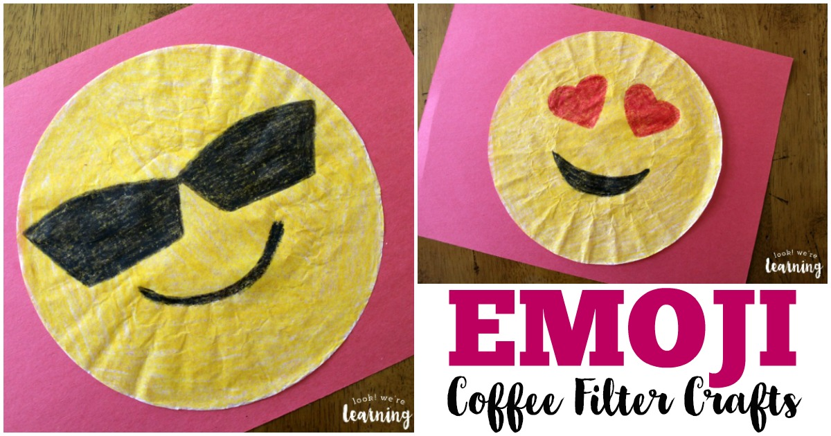 These fun coffee filter emoji crafts are so easy to make with kids!