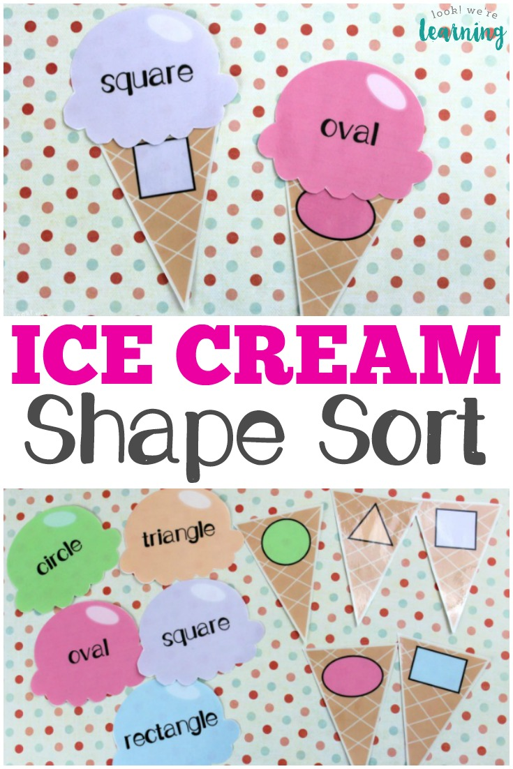 This fun ice cream preschool shape sorting activity is a super cool way for preschoolers to practice shape recognition!