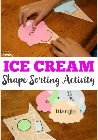 Work on shape recognition the fun way with this cool ice cream preschool shape sorting activity!
