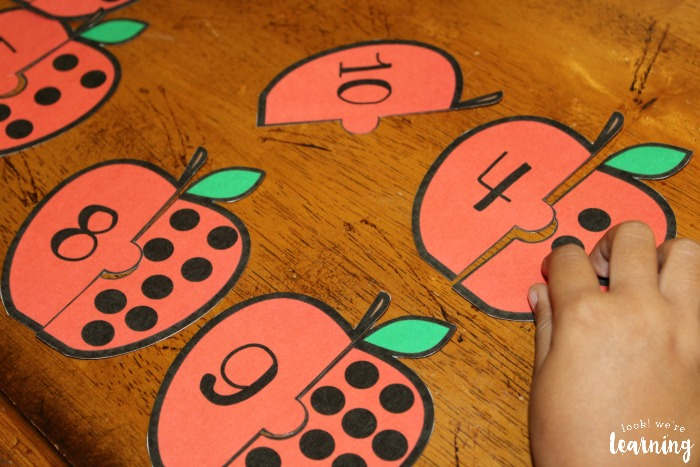 Apple Counting Preschool Puzzle Activity