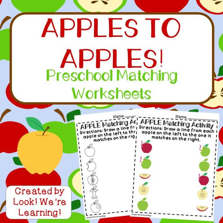 Preschool Worksheets: Apple Preschool Matching Worksheets - Look! We ...