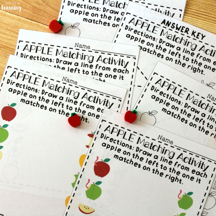 Apple Matching Worksheets for Preschool