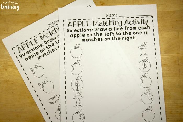 Apple Matching Worksheets for Preschoolers