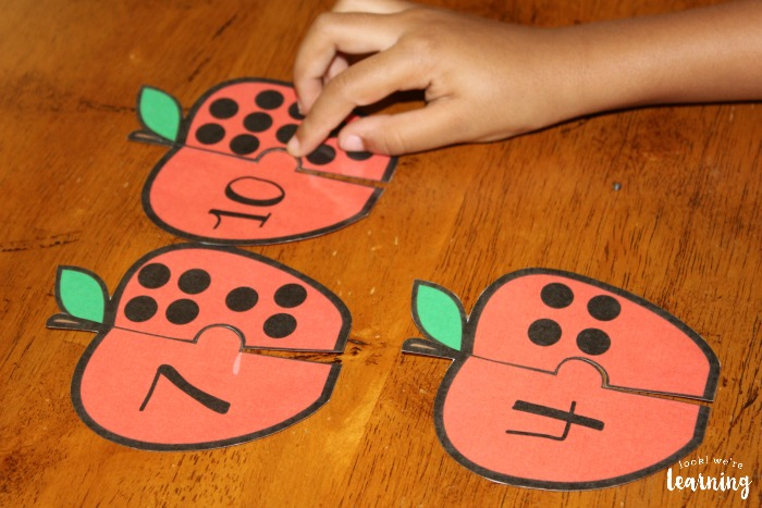 Apple Preschool Counting Puzzles for Kids