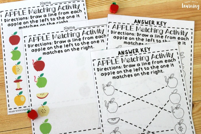 Apple Preschool Matching Worksheets for Kids