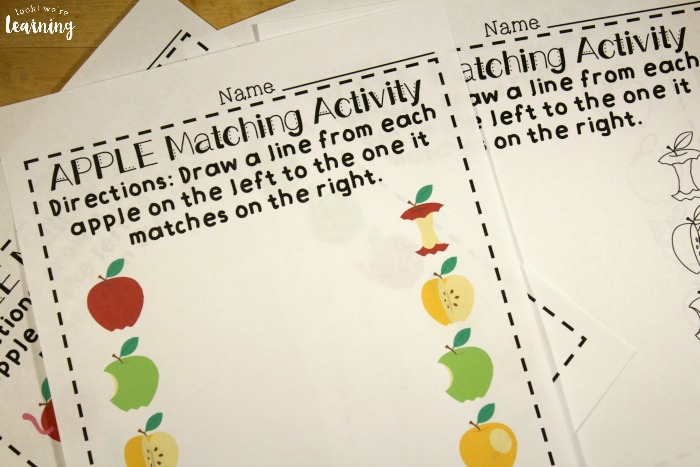 Apple Preschool Matching Worksheets
