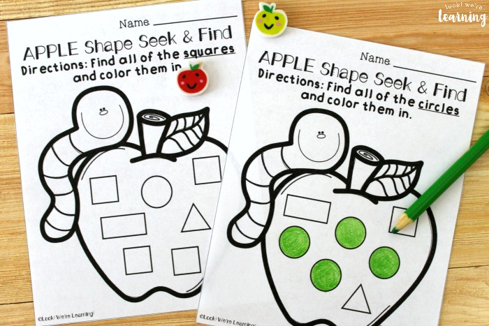 Apple Shape Sorting Worksheets