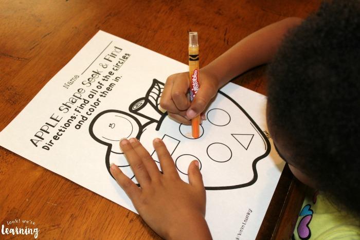 Apple Shapes Worksheets for Preschool