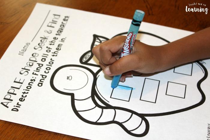 Apple Shapes Worksheets for Preschoolers