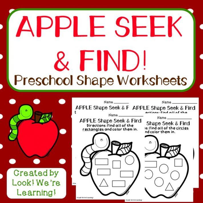 Apple Shapes Seek and Find Worksheets