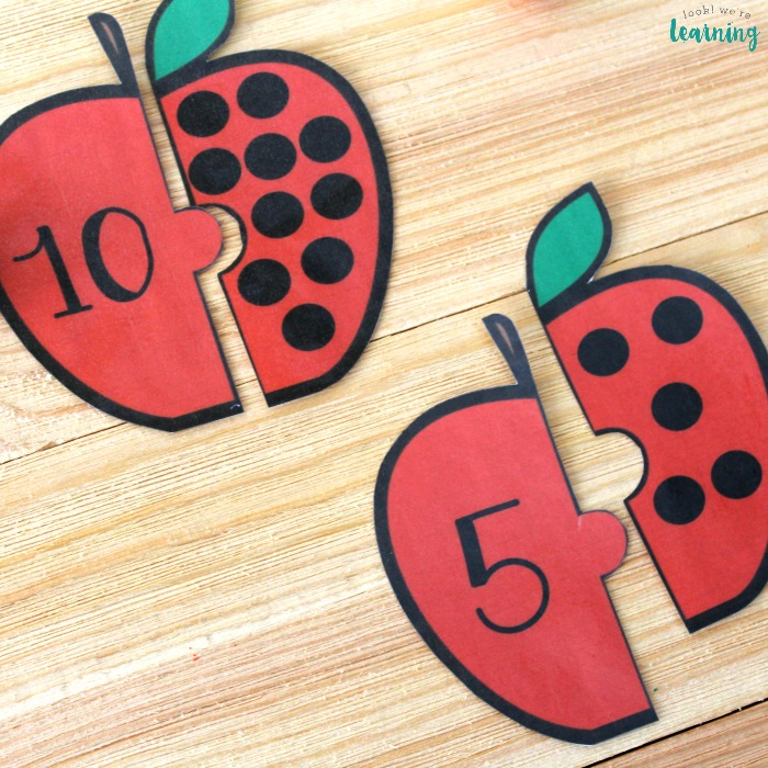 Apple Themed Counting Puzzles for Kids
