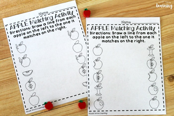 Apple Themed Preschool Matching Worksheets