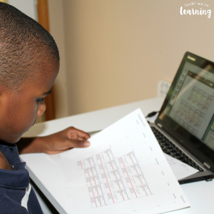 Checking a Printed Homeschool Planet Calendar