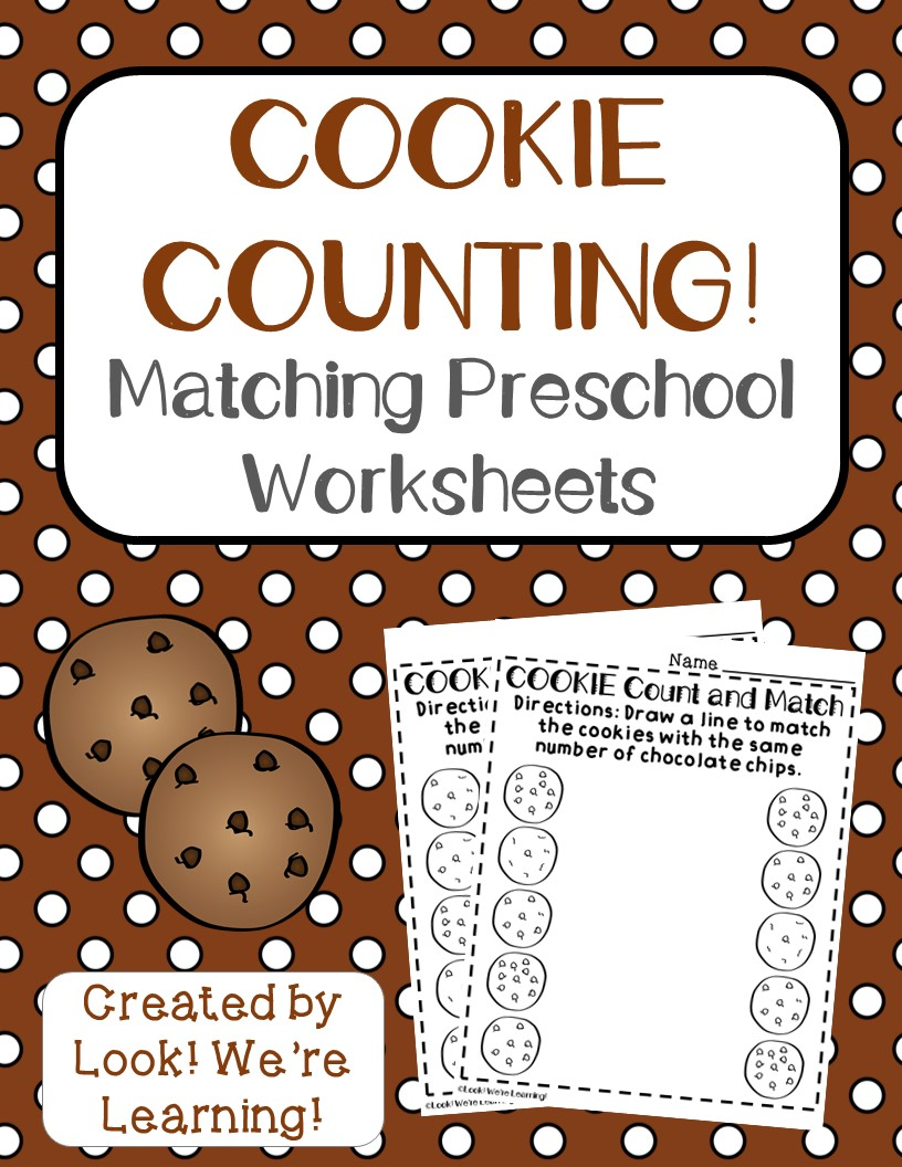 cookie counting worksheets for preschool look we 39 re learning. Black Bedroom Furniture Sets. Home Design Ideas