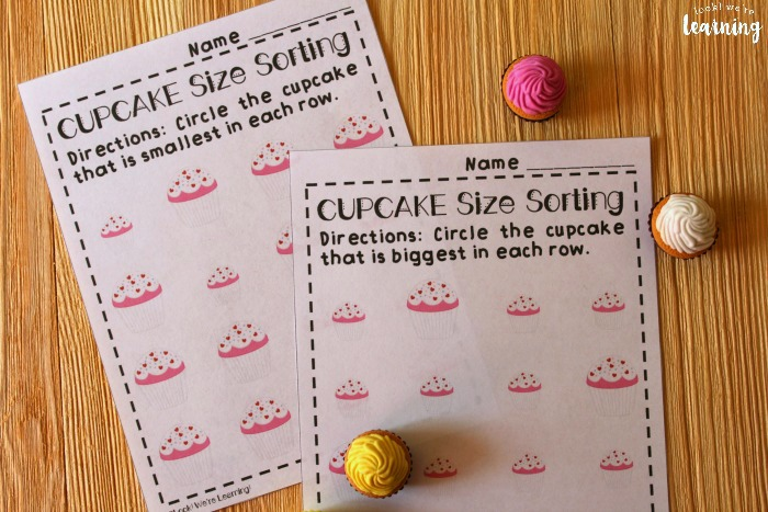 Cupcake Big and Small Worksheets for Kids