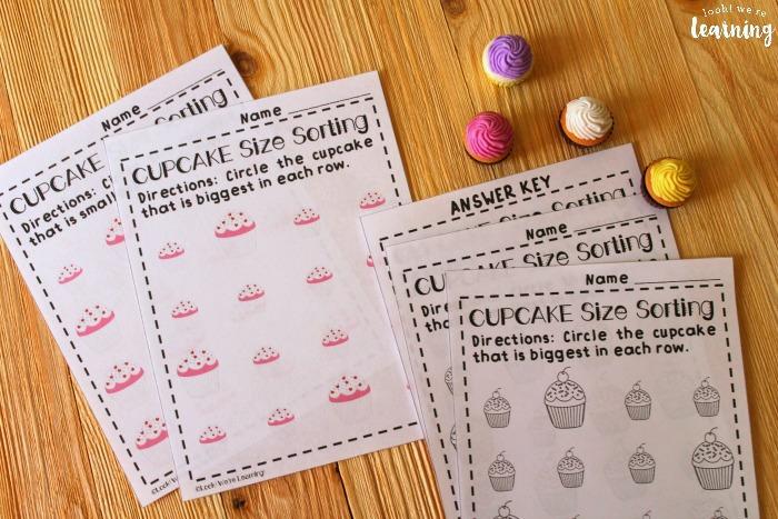 Cupcake Big and Small Worksheets