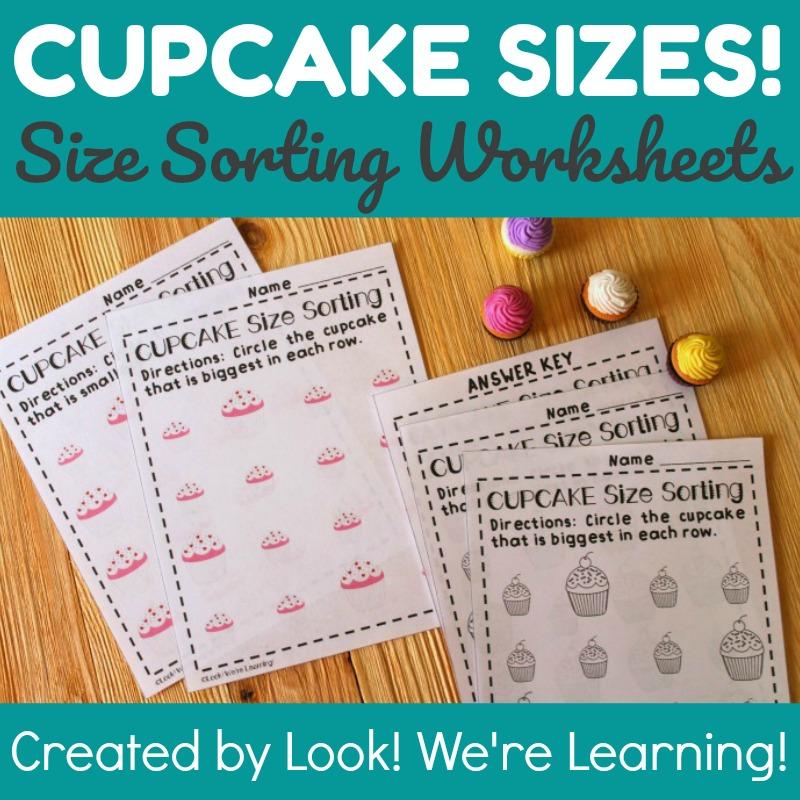 Cupcake Size Sorting Worksheets