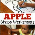 Early learners will love practicing shape recognition with these apple shapes worksheets for preschool!