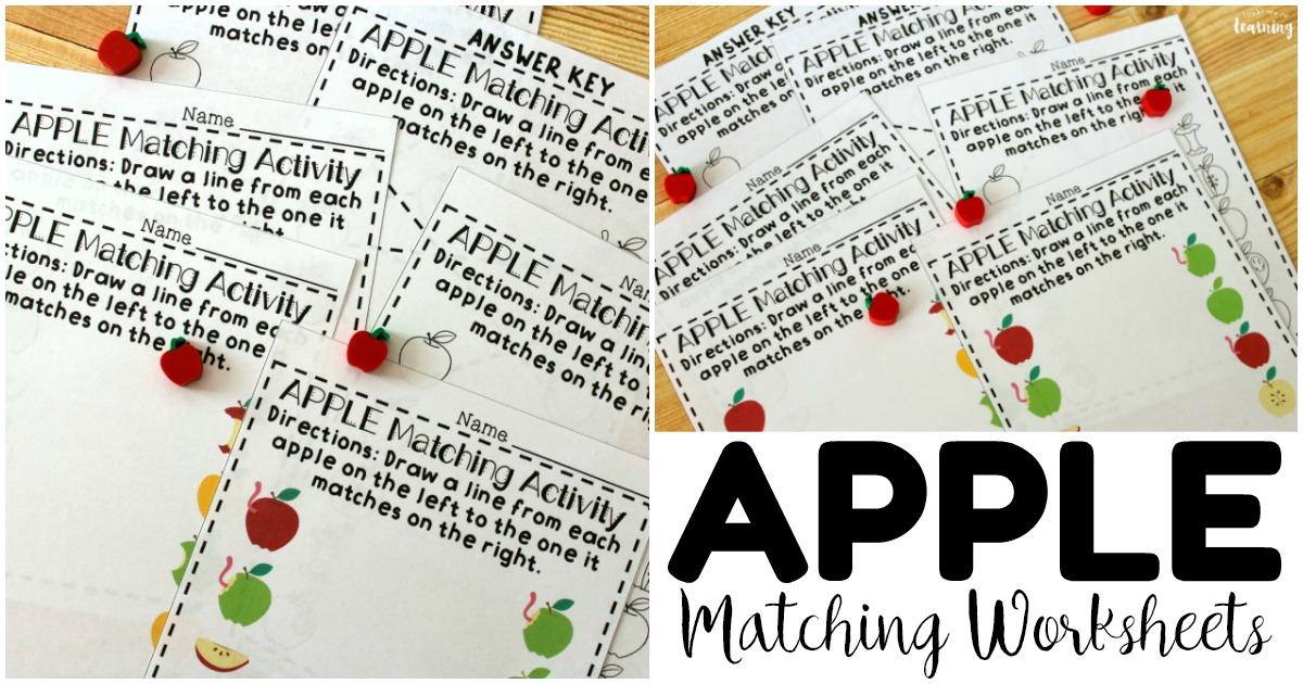 Easy Apple Matching Worksheets for Preschool