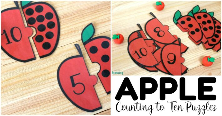 Fun Apple Counting to Ten Puzzles for Kids