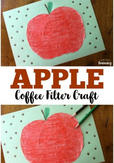 Get the kids ready for fall with this easy peasy coffee filter apple craft!
