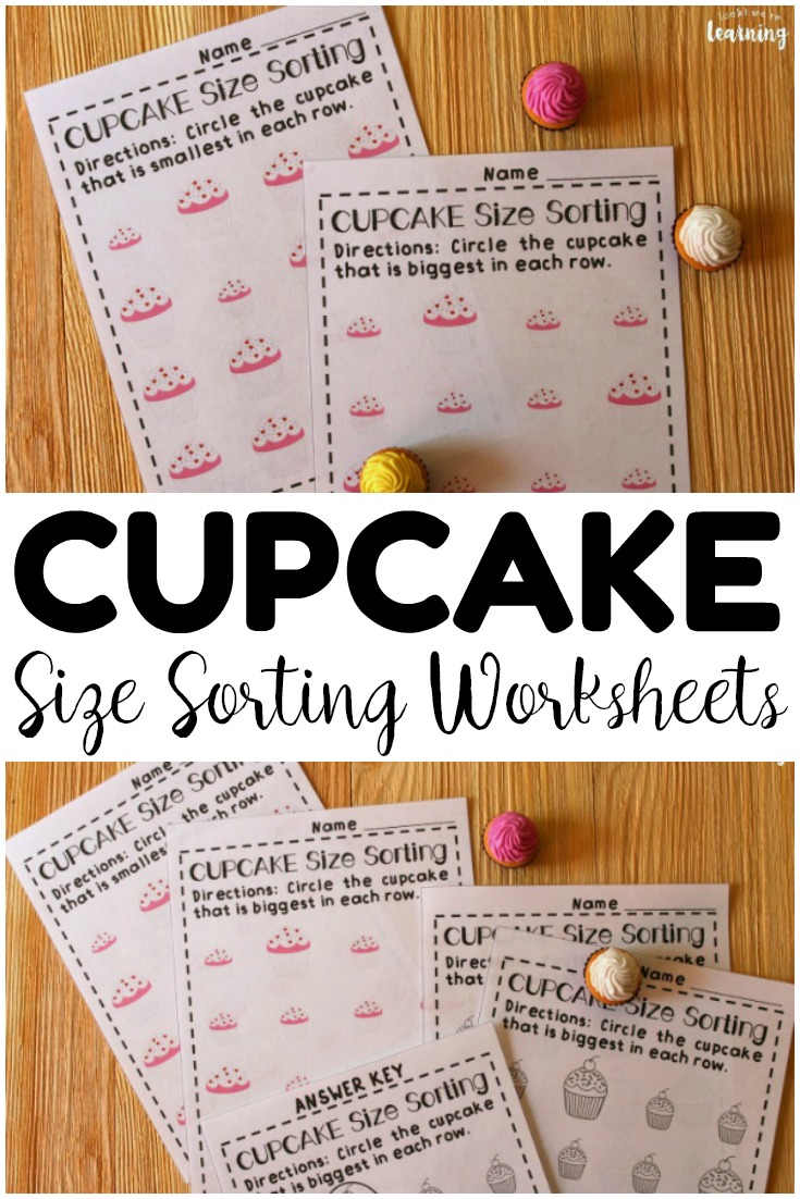 Help your preschoolers learn to sort big and small objects with these adorable cupcake themed size sorting worksheets! Add them to your preschool lesson plan for this year!