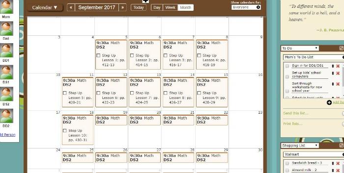 Homeschool Planet Monthly Calendar View